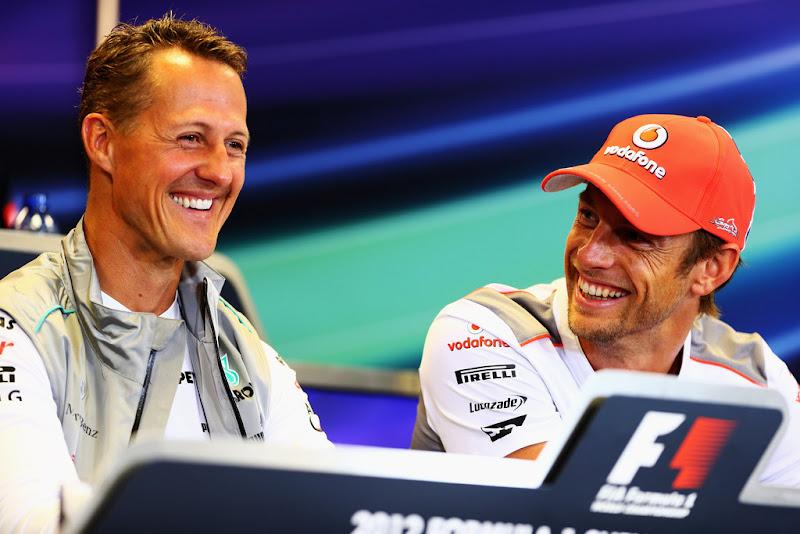 Михаэль Шумахер и Дженсон Баттон на пресс-конференции в четверг на Гран-при Бельгии 2012