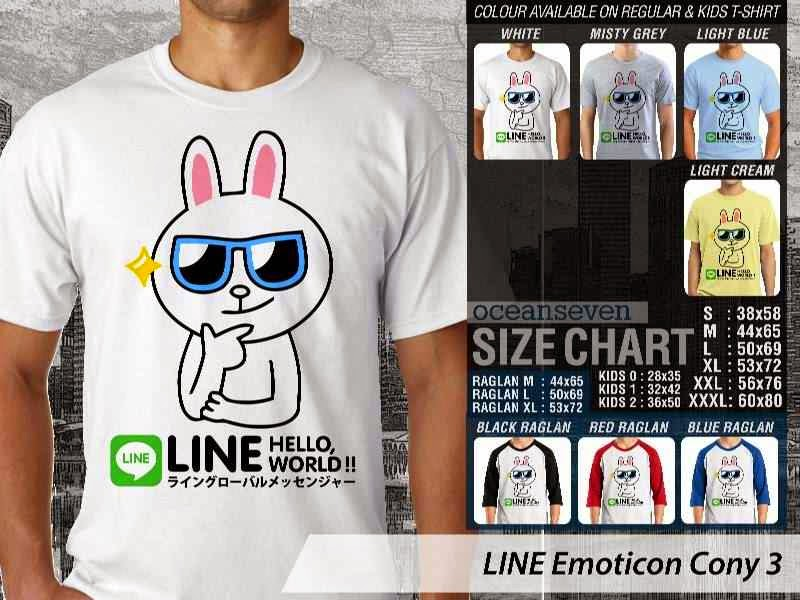 KAOS IT LINE Emoticon Cony 3 Social Media Chating distro ocean seven