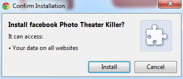 remove facebook photo theater in Google chrome