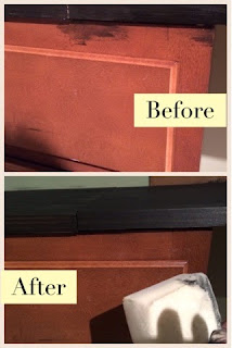 How to use Magic Eraser to cleanup wood stain on cabinets, sinks, and your floor.