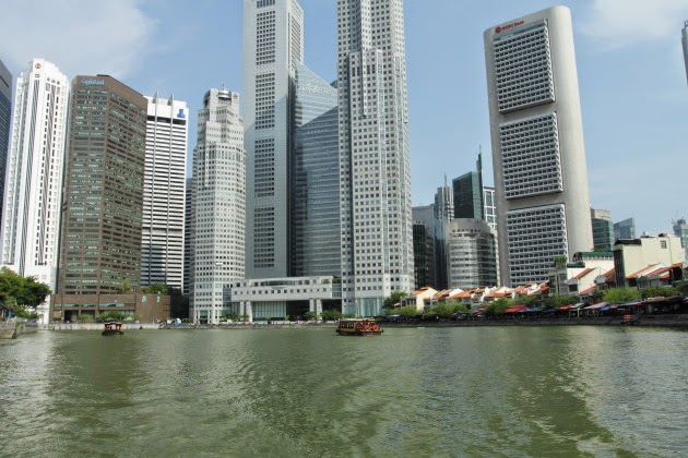 A different view of Singapore from the river