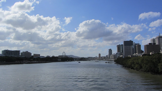 The Brisbane CBD skyline as seen from the wide Brisbane River.
