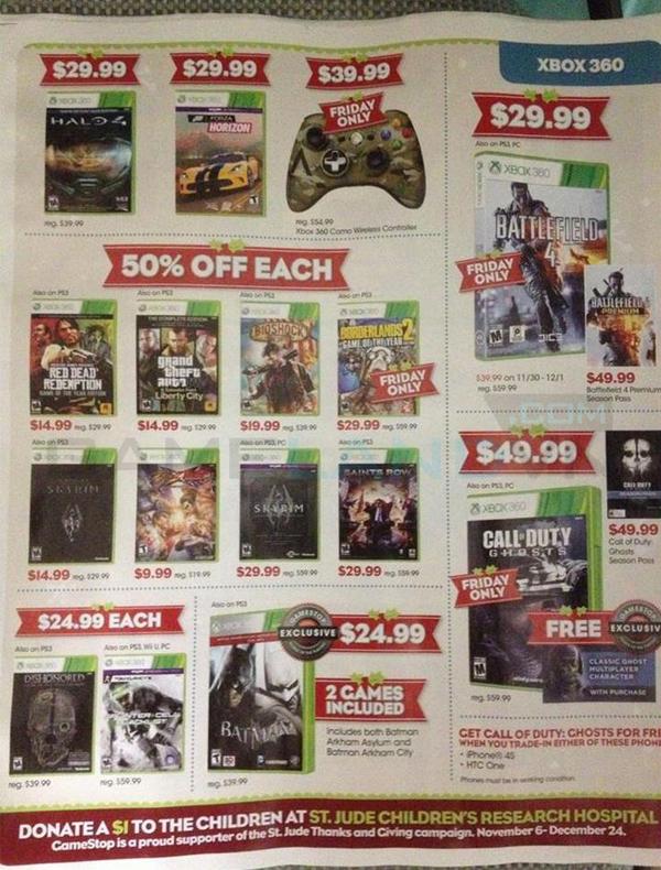 Lộ bảng giá khuyến mãi của GameStop dịp Black Friday 3