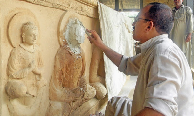 Tampering with ancient statues at Jualian stupa alleged