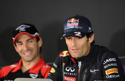 Тимо Глок и Марк Уэббер на пресс-конференции в четверг на Гран-при Германии 2012