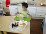 In our preschool classrooms, children are able to serve themselves snacks whenever they are hungry during the morning.
