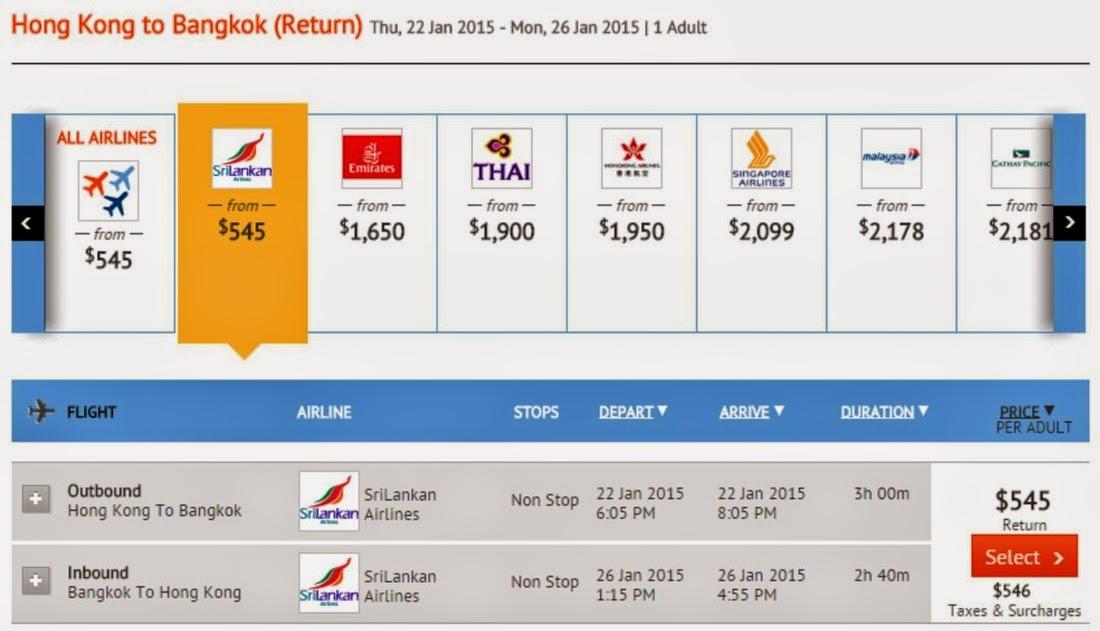 【直逼廉航】斯里蘭卡航空 - 香港直航去曼谷$545(連稅$1,091),即時出發!