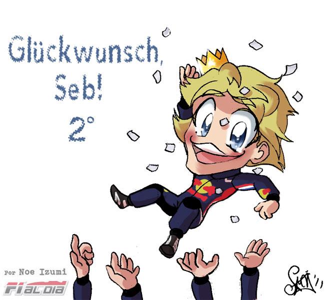 титул анимешный рисунок Noe Izumi о втором титуле Себастьяна Феттеля на Гран-при Японии 2011