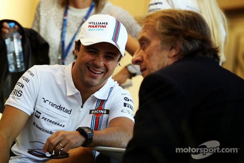 Фелипе Масса смеется на Лукой ди Монтедземоло на Гран-при Бахрейна 2014