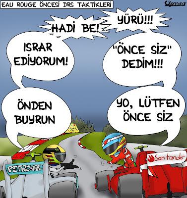 тактика использования DRS перед О Руж - комикс Omer по Гран-при Бельгии 2013