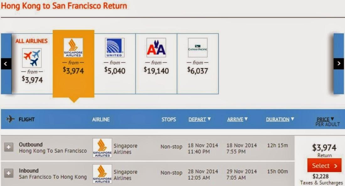 zuji-香港直航飛美國三藩市來回機票$3,974(連稅$6,202)