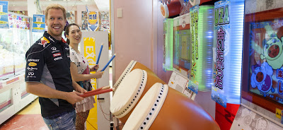 Себастьян Феттель играет в видеоигры перед Гран-при Японии 2013