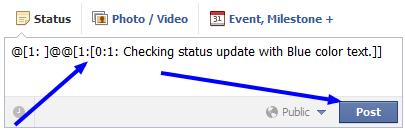 Blue text in Facebook status