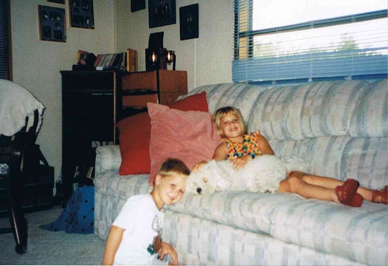 Megan, Wade and Pebbles in our first home