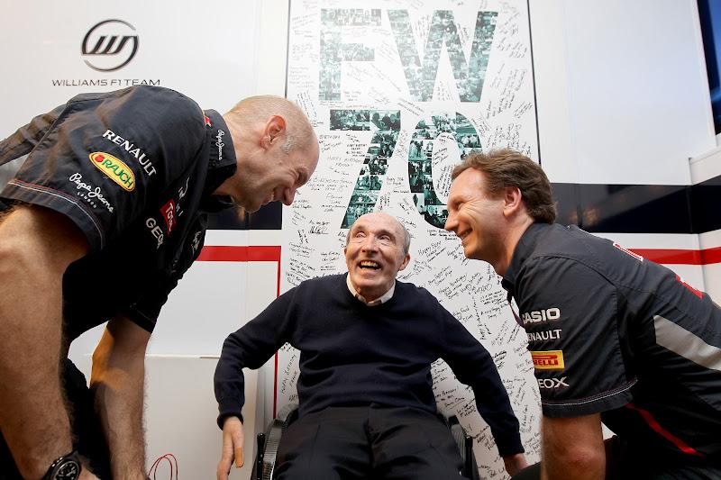 Фрэнк Уильямс Эдриан Ньюи Кристиан Хорнер на праздновании 70-летия на Гран-при Испании 2012