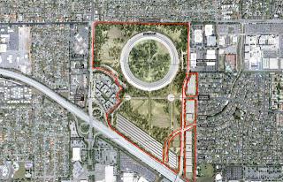 Peta sekitar kompleks perkantoran di Cupertino