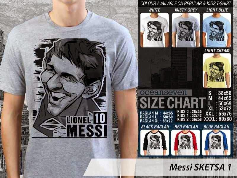 KAOS Lionel Messi Artwork Sketsa distro ocean seven
