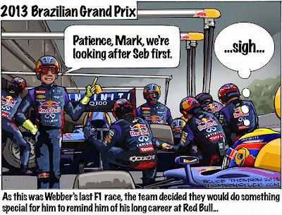 Марк Уэббер ждет завершения пит-стопа Себастьяна Феттеля - комикс Bruce Thomson по Гран-при Бразилии 2013