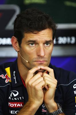 задумчивый Марк Уэббер на пресс-конференции в четверг на Гран-при Бразилии 2013