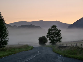 Looking down the road through the early morning mist to Wren Crag (on High Rigg) and Blencathra behind. I rose at 5.00am and started walking at 5.30am ... it was a really early start!!