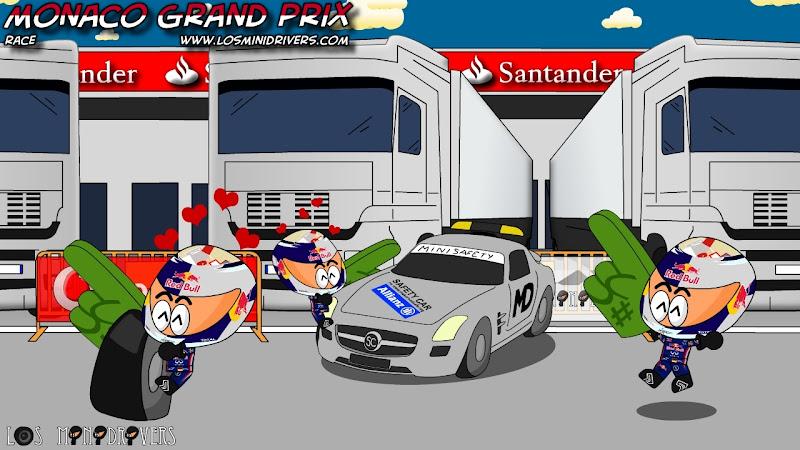 Себастьян Феттель радуется победе на Гран-при Монако 2011 Los MiniDrivers