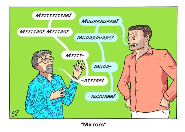 Эдди и Дэвид спорят о правильном произношении слова Зеркало на Гран-при Бельгии 2013 - комикс Stuart Taylor