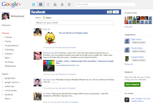 facebook stream in google+