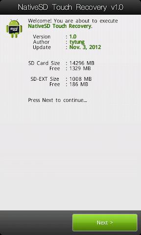 [TUTO] Utiliser le NativeSd Touch recovery 1.0 (en images) NativeSD_Touch_Recovery_0-1_Home