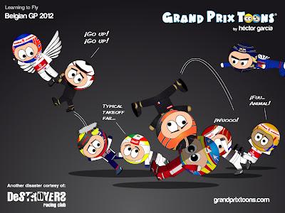 Learning to Fly - комиксы Grand Prix Toons по Гран-при Бельгии 2012