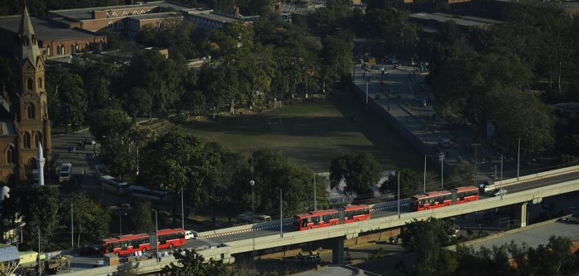Buses are moving on the 8.3Km long overhead bridge infront of GC University