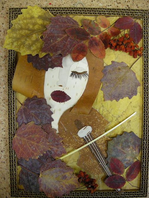 портреты из листьев своими руками фото