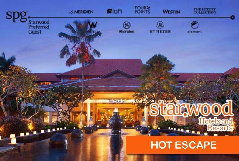 Starwood喜達屋【Hot Escape】 Sheraton喜來登、Westin威斯汀、W Hotel、St. Regis瑞吉等酒店,未來6週住宿低至42折,只限3日訂購,至11月29日止!