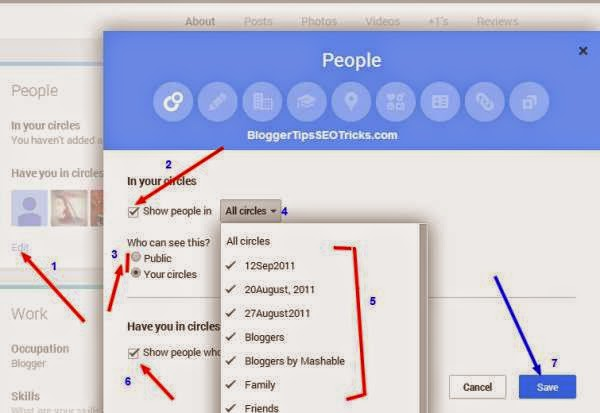 how to show friends in google plus circle