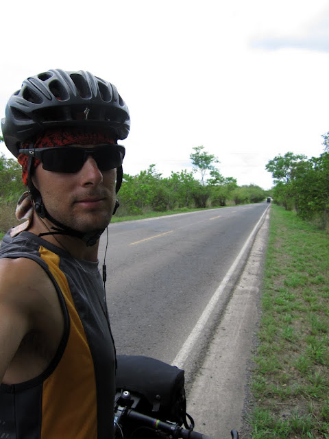 An attempted smile on the hot Costa Rican roads