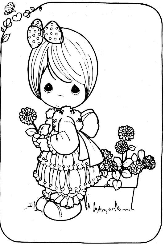 Mädchen mit einer Blume - kostenlose Malvorlagen kostbaren Momente