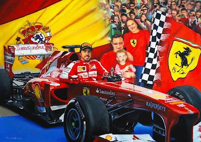 Фернандо Алонсо и болельщики - рисунок Roman Goloseev