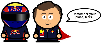 Кристиан Хорнер напоминает Марку Уэбберу его место в команде Red Bull на Гран-при Великобритании 2011 комикс Unlap