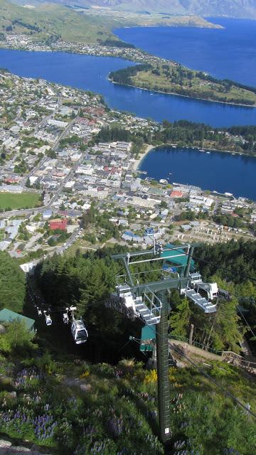 Riding the gondola to the top of Bob's Peak.