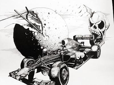 рисунок Red Bull RB9 черной ручкой