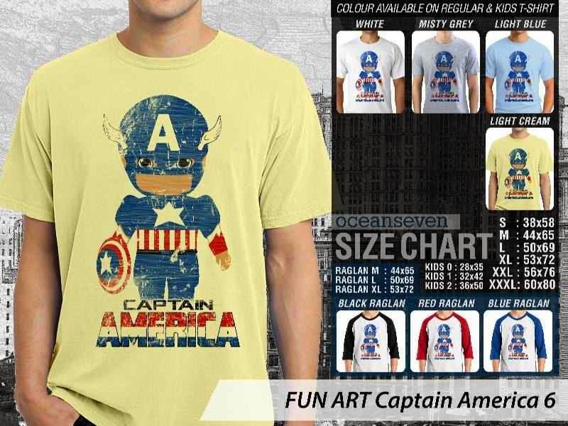 KAOS Captain America 6 Kartun Lucu distro ocean seven