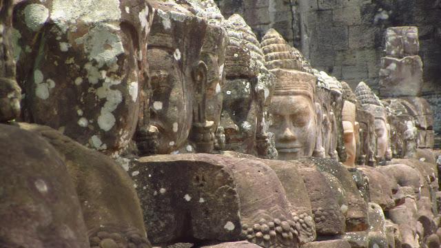 Sculptures guarding the gates of Angkor Thom.