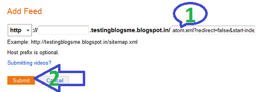 Adding blogger feed to Bing webmaster tool