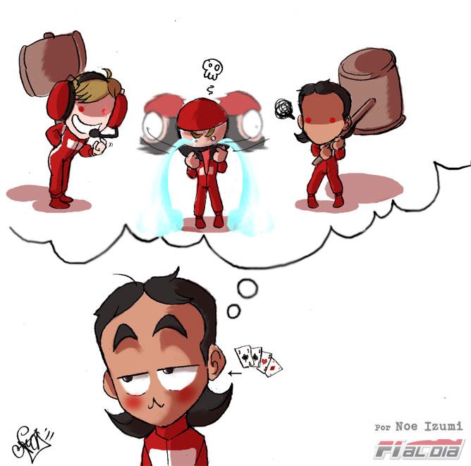 Скрытые желания Фелипе Массы в отношении механиков Ferrari после Гран-при Германии 2011 - анимешная картинка Noe Izumi