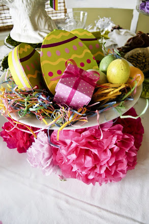Easter tablescape, pink yellow and green Easter, Easter centerpiece