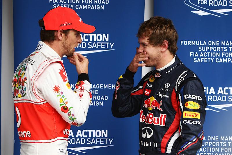 Дженсон Баттон и Себастьян Феттель после квалификации на Гран-при Бразилии 2011