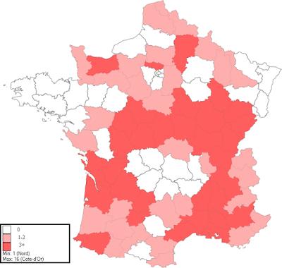 Carte du nombre de carrières de pierre calcaire par département français dans l'Essai de nomenclature