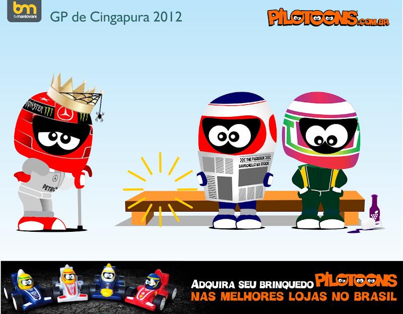 pilotoons Михаэль Шумахер встречает Рубенса Баррикелло и Ярно Трулли на скамейке после Гран-при Сингапура 2012