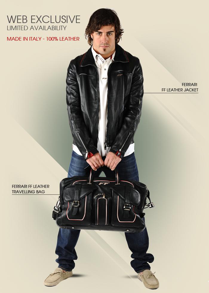фотосессия Фернандо Алонсо в кожаной куртке и с кожаной сумкой