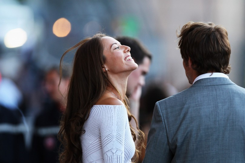 Дженсон Баттон и смеющаяся Джессика Мичибата на Гран-при Монако 2011