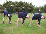 Synchronised stretching - glad the seniors didn't have to do this!